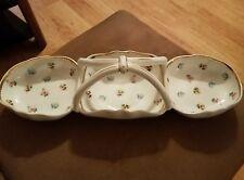 L Godinger & Co Porcelain 3 Section Condiment Dish Rosebud Design with Handle