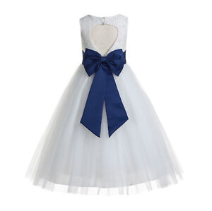Floral Lace Heart Cutout Flower Girl Dresses Wedding Formal Dress Baptism Dress