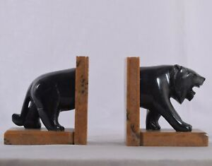 Vintage Bookend Tiger Bookend Figurine Handmade Stone Item Polished Home Decor