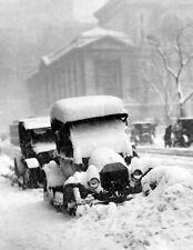 "1917 Snowbound Automobiles, New York City, New York Old Photo 8.5"" x 11"" Reprint"