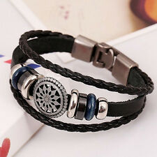 Fashion PU Vintage Infinity Charm Wrap Men Women Bracelet Bangle Punk Style D