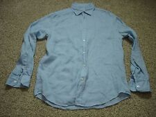 mens store bloomingdales 100% linen button up shirt blue small WM08