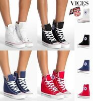 WOMENS-LADIES SNEAKERS,TRAINERS HIGH WEDGE LACE UP ANKLE BOOTS NEW*UK STOCK
