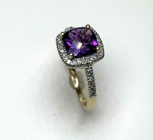 Natural  Amethyst & Diamond Ring in 14K Solid Yellow Gold Sz 6 Sizable
