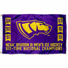 Uw Stevens Point Pointers 6 Time D3 Hockey National Champions Flag Large 3x5