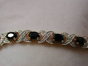 Sterling Vermeil Sapphire and Diamond XO  7.5 Inches long