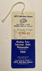 Vintage 1971 MLB All Star Game Press Pass Detroit Tigers Tiger Stadium