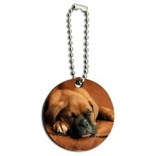 Boxer Puppy Dog Sleeping in Leather Chair Wood Wooden Round Keychain Key Chain