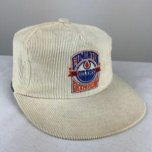 1988 Edmonton Oilers Vintage Snapaback Hat Adjustable White Corduroy Nhl Hockey