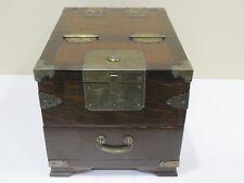 Antique Vintage Korean Handmade Mirror Box, Wood Box with Mirror