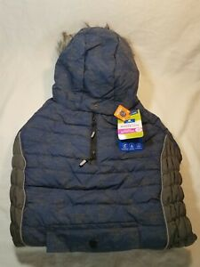 New Top Paw Dogs Blue Ultra Reflective Waterproof Hooded Winter Coat Size XLarge
