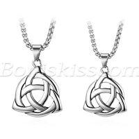 "Men's Women's Charm Stainless Steel Irish Celtic Knot Pendant Necklace Chain 22"""