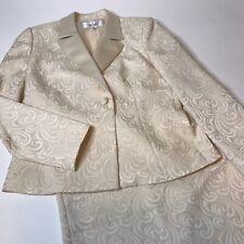 LE SUIT Womens SZ 6 Swirl Jacquard Satin Ivory Vanilla Blazer Skirt Suit Wedding