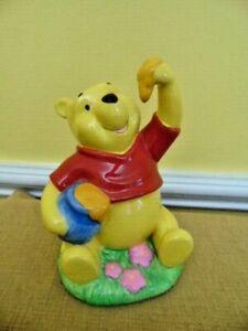 Enesco Disney Winnie The Pooh Piggy Bank Ceramic Honey Pot Bear flower