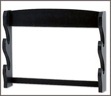 WALL MOUNT DOUBLE SWORD DISPLAY STAND BLACK FINISH WOOD MADE NEW!!!