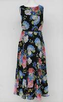 HOBBS Ladies Navy Blue Multi Empire Line Floral Print Carly Midi Dress UK8 BNWT