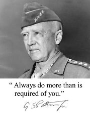 4 Star General George S Patton U.S. Army Autographed Quote 1945 8.5x11 Photo