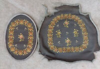 2 Antique Salvage Needlepoint Chair Seat and Back Cover Shabby Chic Floral Gray
