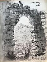 Karl Adser 1912-1995 Blick durch alte Ruine auf Tal mit Kleinstadt Kirche