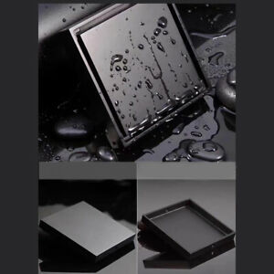 New Black Square Shower Floor Drain with Tile Insert Grate Removable Cover