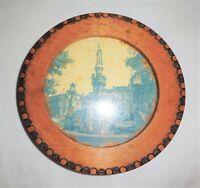 ANTIQUE Vtg MISSION Arts & Crafts WOOD BURNED Round PICTURE FRAME Germany Label