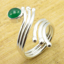 9.75 Size, Adjustable Ring ! JEWEL Authentic Green Onyx Silver Plated Jewelry