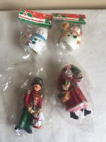 Mixed Lot Of (4) New In Package Christmas Ornaments Santa Claus Snowman