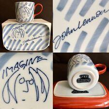 "Rare Signed Collectable John Lenon ""Imagine"" Porcelain Coffee Mug & Plate Set"