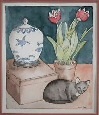"""Original Watercolor of Cat, Flowers and Chinese Blue Ginger Jar, Signed """"Mielke"""""""
