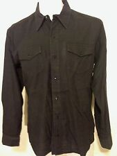Oliver Spencer  Black  Button Down Fitted  Dress Shirt Sz 16.5 2 pocket Cotton