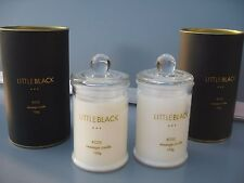 """""""NEW"""" 2 x LITTLE BLACK ROSE MASSAGE SOY WAX DRESS CANDLES 2 x 120g IN GLASS JARS"""