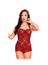 558fa72dde2 Esther Williams Retro Style Burgundy Shark Swimsuit Size 6 Made in USA