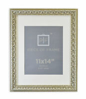 11x14 Ornate Finish Frame Silver Beige Color with Ivory Mat for 8x10 Photo