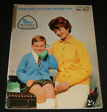 VINTAGE 1960s  PATONS KNITTING BOOK  #657 FAMILY JUMPERS TOPS