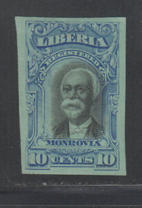 Liberia # F13 IMPERF COLOR TRIAL BRIGHT BLUE On Blue Paper 1903 Registration Set