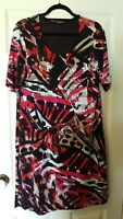 Gerry Weber size 16 short sleeved dress in black white red pink and animal