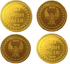25 x GENUINE L1 EAGLE FREEDOM BRASS TOKENS EMBOSSED 2010 FOR SUNBED METERS ETC