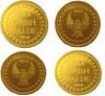 NEW 50x SUNBED TOKENS EAGLE FREEDOM GOLD EMBOSSED 2010 FOR L1 COIN METER TIMERS