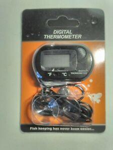 Digital LCD Fish Tank Aquarium Thermometer Marine Water Temperature Black ~ NEW