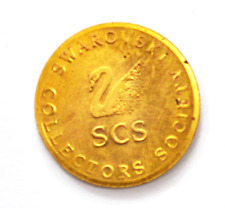 1991 Swarovski Gold Tone Token Medal Collectors Society Double Struck 26mm SCS