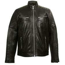 Chaqueta de piel napa para hombre estilo Biker New Rock W-NRLMJ008-S1