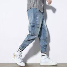 Men Denim Harem Pants Jeans Cargo Japanese Trousers Tapered Pocket Casual