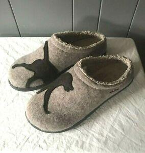LL Bean Womens 11 M Daybreak Scuffs Dog Motif Wool Felt Clog Slippers Brown New