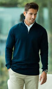 Pour Hommes Chaud Uni Noir ou Bleu Coton Mix Col Fermeture Éclair Pull Tricot
