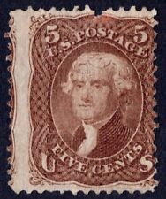 """US Sc# 95 *UNUSED NG H* { 5c JEFFERSON } """"SCARCE """"F GRILL FROM 1867 CV$ 1,375.00"""
