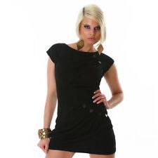 Sexy Minikleid Strickkleid Mini kurzes Kleid Kurzarm mit Knöpfen Schwarz Gr. M