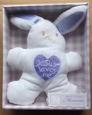 "JESUS LOVES ME Embroidered Bunny Pillow, 11"" Tall, by Grasslands Road"