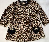 Bon Bebe Girls 18 Months Plush Leopard Print Dress with Black Heart Pockets