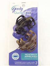 GOODY OUCHLESS COMFORT FLEX CLAW HAIR CLIPS - BLACK & BROWN - 2 PCS. (23345)