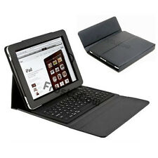 BLACK Leather Bluetooth Keyboard Flip Cover Case Stand for Apple iPad 2